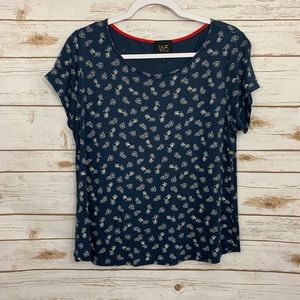 Anthropologie W5 Navy White Bicycle Scoopneck Top